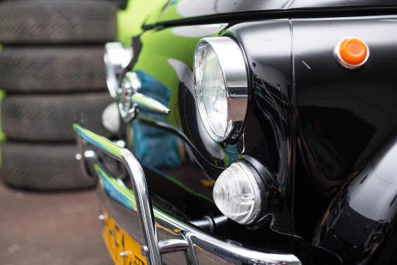Warsaw, Poland - May 14, 2015: Black Fiat 500 retro car